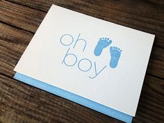 Baby Boy Letterpress Card via Sweet Water Letterpress
