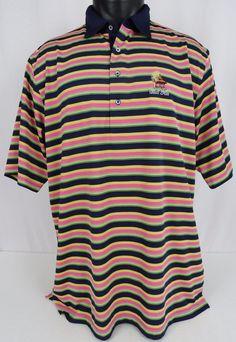 Donald Ross Mens L Golf Polo Shirt Bali Hai Golf Logo Vegas Striped Blue Pink #DonaldRoss #PoloRugby