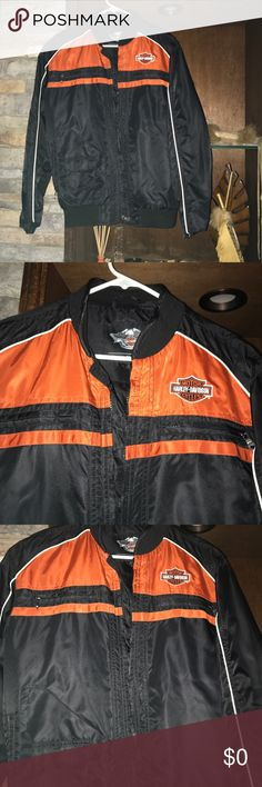 Women's Harley Davidson jacket Women's Harley Davidson jacket new Without tags my husband bought it for me and does not fit I am petite and the arms are too long not for sale Harley Davidson jacket Jackets & Coats Utility Jackets