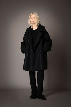 2021-22 A/W 016, Super 110's Lamb's Wool Double Melton Pea Coat FRC-C03-103F, Finest Cashmere Combination Knit Sweater FRC-K01-900, Washable Wool Rib Knit Straight Pants FRC-P12-903 Rib Knit, Cashmere, Wool, Knitting, Pea Coat, Sweaters, Jackets, Collection, Pants