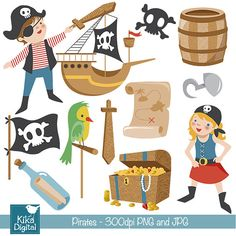 70% SALE Pirates Clip Art - Pirate Scrapbooking , card design, invitations…