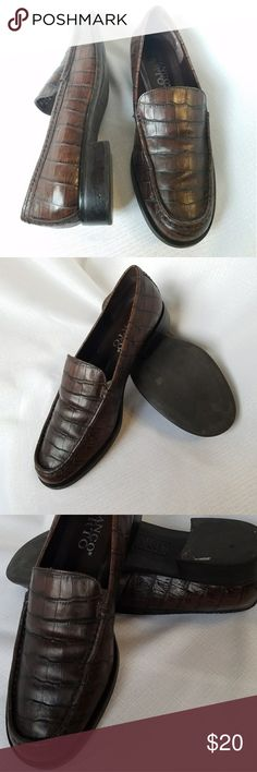 FLASH SALE- Croc Leather Loafers FLASH SALE-ENDS TONIGHT!!  Croc Embossed Brown Leather Loafers by Franco Sarto. Right on trend. Pre loved. See photos for details. Franco Sarto Shoes Flats & Loafers