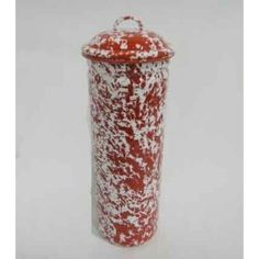 Enamelware Pasta Canister, Red Marble