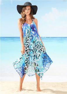 Más de 40 Vestidos Playeros ¡Fantásticas Propuestas para Este Verano!   Vestidos   Moda 2018 - 2019 Beach Dresses, Summer Dresses, Resort Wear, Women Swimsuits, Summer Time, Shoe Boots, Cover Up, Glamour, Outfits