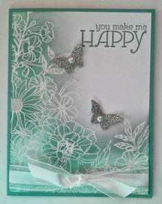 Stampin' Up! Corner Garden Stamp Set and Embossing Resist Technique. Butterfly Cards, Flower Cards, Corner Garden, Embossed Cards, Card Making Techniques, Card Tags, Paper Cards, Cool Cards, Creative Cards