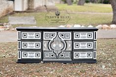 Spanish Revival meets Moroccan style with this beautiful contrast of black and white. The hardware a polished silver to add elegance. This dresser
