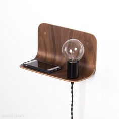 Plywood side shelf lamp