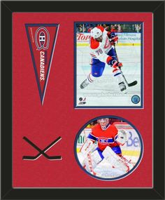Two framed 8 x 10 inch Montreal Canadiens photos of P.K. subban(including one VERTICAL photo at the top and one HORIZONTAL photo framed in an oval) with a Montreal Canadiens mini pennant, double matted in team colors to 16 x 20 inches.  Includes two black hockey sticks which are cut into the top mat.  The oval photo will be cropped to fit.  (Pennant design subject to change) $89.99  @ ArtandMore.com