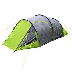 Wild Camping Cambrian 4 Man Person Camping Tunnel Tent - Green & Grey
