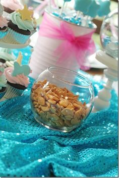 mermaid party - s - perfect fabric for decorating, love the white painted cans. Goldfish crackers are perfect.