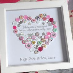 Sister Personalised Heart Button Art Print - Birthday / Christmas Gift by ButtonsandBobbinsUK on Etsy https://www.etsy.com/listing/251079863/sister-personalised-heart-button-art