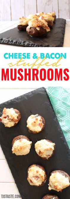 Cheese and Bacon Stuffed Mushrooms (THM S, Low Carb, Gluten Free) via Low Sugar Recipes, Thm Recipes, Kraft Recipes, Seafood Recipes, Appetizer Recipes, Appetizers, Diabetic Recipes, Salad Recipes, Denmark Food