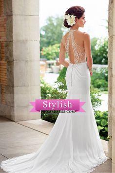 2017 vestidos de boda de la gasa de la blusa halter con cuentas una línea US$ 199.99 STPET9QMGP - StylishPromsDress.com for mobile