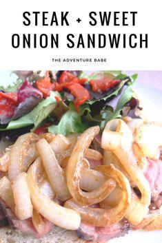 steak and sweet onion sandwich Steak Sandwich Recipes, Sandwich Ideas, Steak Recipes, Egg Free Recipes, Onion Recipes, Veggie Recipes, Wrap Sandwiches, Comfort Foods, Summer Recipes