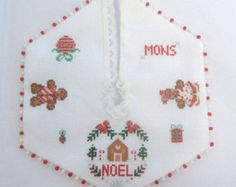 dollhouse christmas tree skirt gingerbread cross stitched needlepoint glass fringe