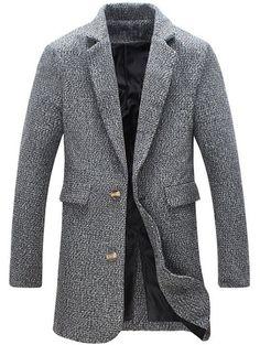 Turndown Collar Cotton Blends Single Breasted Woolen Coat - Gray - 4xl - GRAY 4XL
