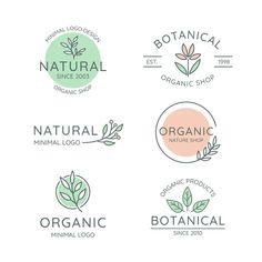 Natural business logo collection in mini Free Vector App Design, Food Design, Brand Identity Design, Free Logo Design, How To Design Logo, Brand Design, Menu Design, Logo Papillon, Logo Web