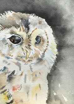 Night owl  5x7 Original watercolor painting  by FernOriginalArt