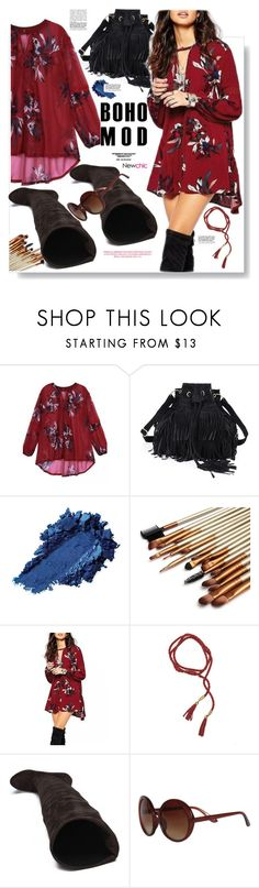 """Newchic.com: Boho Mod"" by hamaly ❤ liked on Polyvore featuring Trio Eyewear, Boots, dresses, bags, bohemianstyle and newchic"