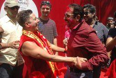 Mumbai : Actors , Poonam Pandey, Rakhi Sawant, Urvashi RautelaKaira Advani, Mustafa,Gulshan Grover and singer Sukhwinder Singh and models and Girls and people celebrating Holi Festival in Mumbai on .Photo by BL SONI