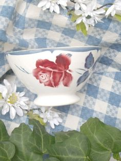 "Superbe ancien  bol Digoin  ""la rose"" 1950"