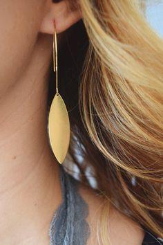 Brass Brushed Drop Earring