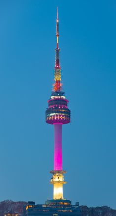 Namsan Tower, Seoul, South Korea. The Namsan Tower or Seoul Tower, is a communication and observation tower located on Namsan Mountain in central Seoul, South Korea. It marks the highest point in Seoul.
