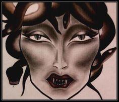Medusa face chart. By Becki Morgan #medusa #facechart #makeup #makeupartist #halloween #snakes