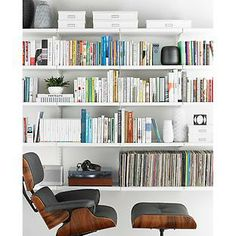 "Shelves are so ""full"" you don't see rails [The Container Store > White elfa décor Library]"