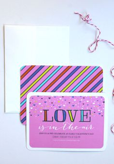 DIY Valentine's Day Washi Tape Garland inspired by this Tiny Prints Invite!