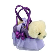 Title: Golden Retriever Dog in Purple Handbag Fancy Pals Size: Measures 8 inch / 20cm long Price: AUS$ 22.95 Brand : Aurora  Lots more items like this available at: www.stuffedwithplushtoys.com 100 Day Returns |Fast Trackable Shipping|Google Trusted Store