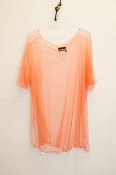Sheer blouse mesh top sheer shirt peach blouse orange by Nmeno1