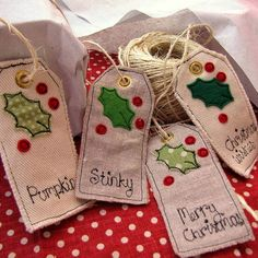 Personalized Christmas Tags - another great scrap buster idea! Christmas Gift Wrapping, Christmas Gift Tags, Homemade Christmas, All Things Christmas, Christmas Berries, Christmas Holidays, Christmas Sewing Projects, Christmas Crafts, Creation Deco