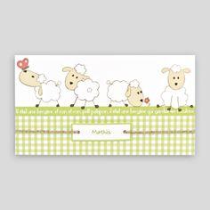 Faire-part de naissance avec quatre petits moutons sur un bandeau vert, dessin Vichy