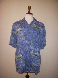 Havana Jack's Cafe Sailboat Sailing Blue Hawaiian Aloha Tiki Shirt Large