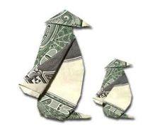 Origami Penguin with a US dollar bill Origami And Kirigami, Origami Paper, Origami Folding, Origami Boxes, Paper Folding, Origami Penguin, Origami Animals, Origami Elephant, Origami Design