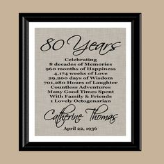 80th Birthday Print Gift 1938 Personalized Printable