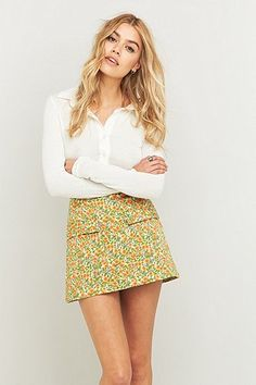 Urban Outfitters Girl Scout Sunflower A-Line Skirt