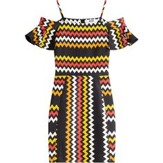 MSGM Zigzag Print Mini-Dress ($470) ❤ liked on Polyvore featuring dresses, multicolor, cocktail mini dress, off shoulder dress, evening dresses, fitted dresses and short dresses