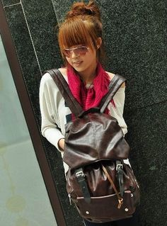 Brown PU Leather-like Material Backpack School Bag Super Cool for School by Jam_closet, http://www.amazon.com/dp/B00787OEDM/ref=cm_sw_r_pi_dp_5qYkqb0FRPZ4V