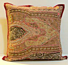 Vintage gypsy Throw Pillow, Handmade Indian Mirror Work Pillow, Decorative Gypsy PIllow, Ethnic Indian Floor Pillow, Bohemian Pillow Antique...