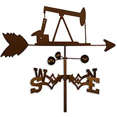 This weathervane is made of strong steel with a sealed ball bearing in the wind cups. The weathervane is coated with copper-colored powder coat paint, and features an oil rig.