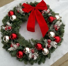 30 inch artificial greenery wreath Red and silver ornaments Red and white decorations White lights Christmas Wreaths With Lights, Christmas Porch, Red Christmas, Christmas Decorations, Holiday Crafts, Holiday Decor, Greenery Wreath, Advent, Diy Wreath