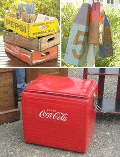 vintage party decor :: wood soda cases :: buoys :: coca-cola cooler