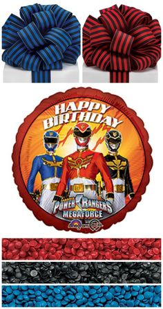 Planning a Power Rangers birthday party?   Decorate with our Power Rangers balloons and select from our #burtonandburton ribbon and supplies to carry your color theme throughout each detail of your event.  Up the wow and fun by baking #DIY Deco Dot decorations using your custom party colors.  #birthday #powerrangers #Deco_Dots