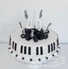 Music Birthday Cake, Black and White Birthday Cake
