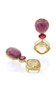 18K Yellow Gold Burgundy Venetian Glass Garnet And Citrine Studs by Bahina for Preorder on Moda Operandi
