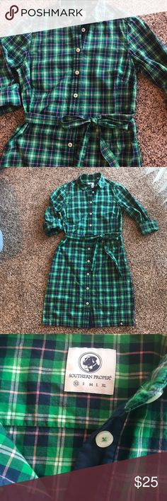 Southern Proper Green Plaid Shirt Dress Size XS Southern Proper shirt dress. It is great for all seasons! Throw on a vest for fall and winter, and add some cute sandals for the warmer months.. and it has pockets! Southern Proper Dresses