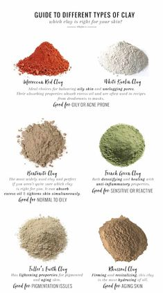 Natural Skin Remedies Choosing the right clay for your skin type is an essential step when you're making your own clay masks and cleansers. This guide will help. Beauty Care, Beauty Skin, Beauty Hacks, Diy Beauty, Beauty Ideas, Face Beauty, Beauty Secrets, Beauty Style, Skin Care Regimen
