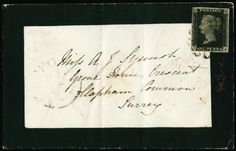 1840 1d Black Pl.11. Fine used four margin example lettered TJ, neatly tied to a mourning envelope by a black MC. Sent from Thetford to Clapham Common with a Thetford dispatch cds at left for AP.8.1841. Backstamped by London arrival datestamps for AP.9.1841. Slight signs of ageing and a vertical filling fold well clear of stamp nevertheless a very presentable example of this rare plate on cover. 1983 RPS Cert.